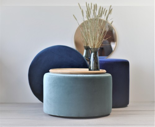 Large Round ottoman, light blue