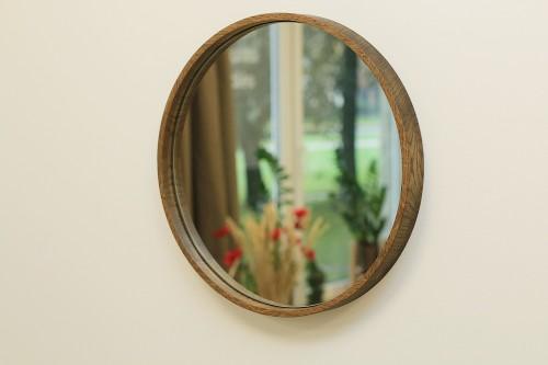 Oak frame hanging mirror
