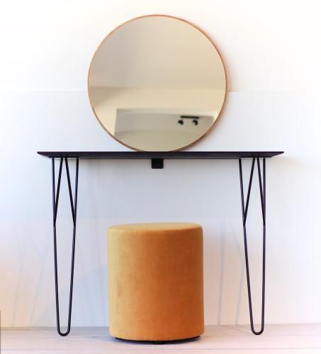 Solid oak console table, MINI 100 BLACK