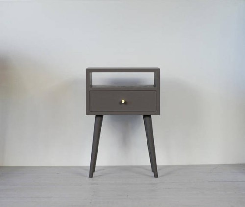 Oak wood white nightstand, NO-03-EP lava