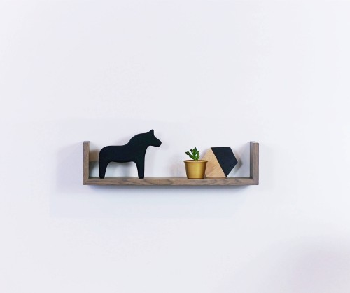 Wall oak shelf grey oiled GR60