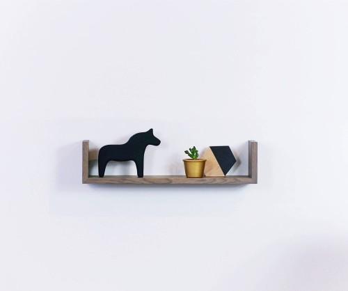 Wall oak shelf grey oiled GR60